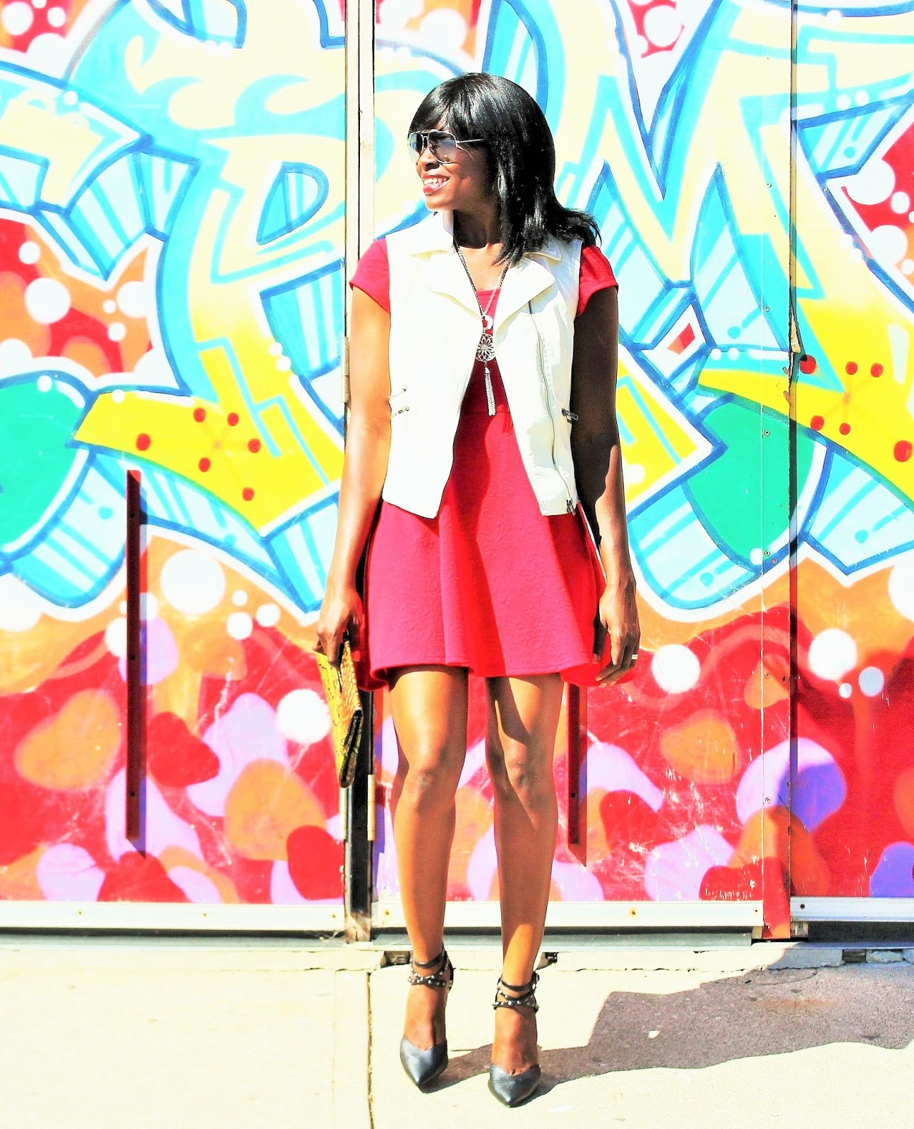 LITTLE RED DRESS: PRE-FALL EDGY CHIC LOOK