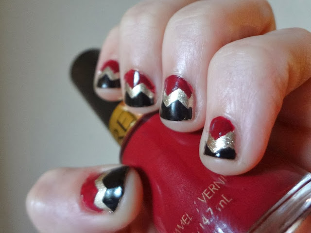 Chevron nails, burgundy, gold, black, nail polish
