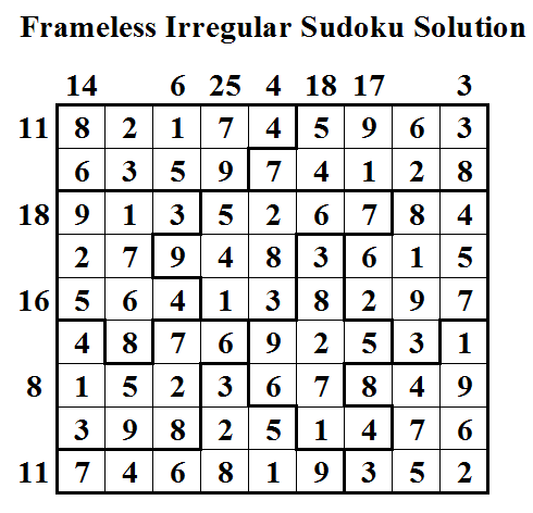 Frameless Irregular Sudoku (Daily Sudoku League #32) Solution