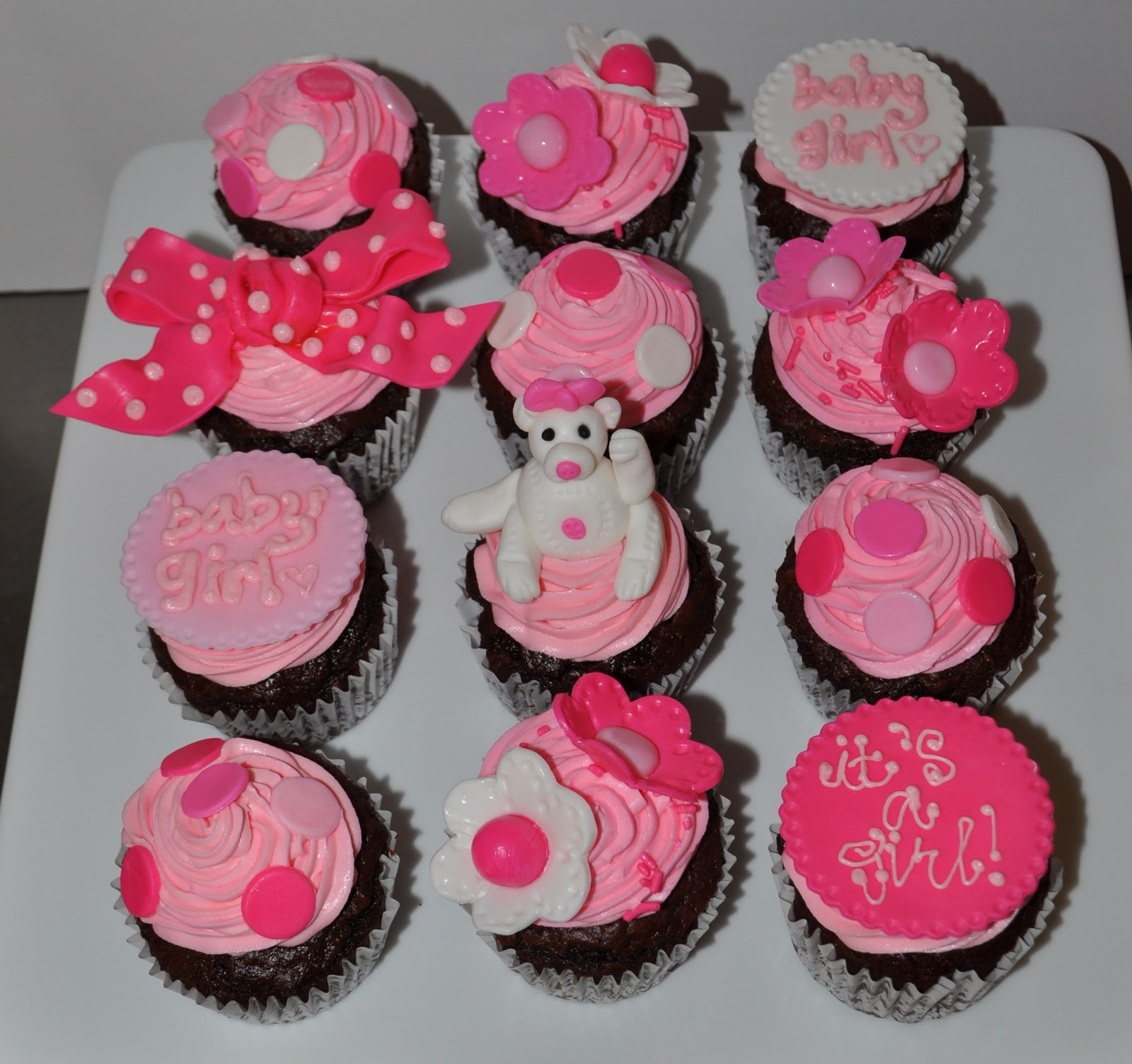 Pink Baby Girl Shower Cupcakes