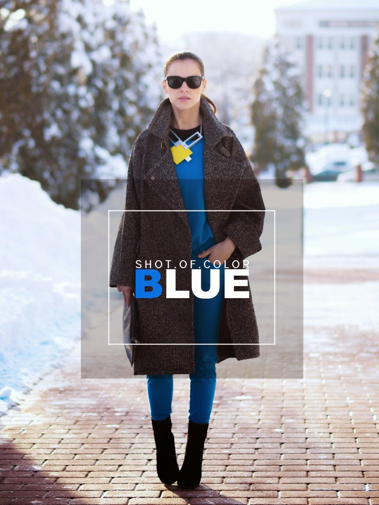 bittersweet colours, blue, DIY necklace, grey coat, Mango, oversized coats, Proenza Schouler, street style, winter trends, Zara, cocoon coat