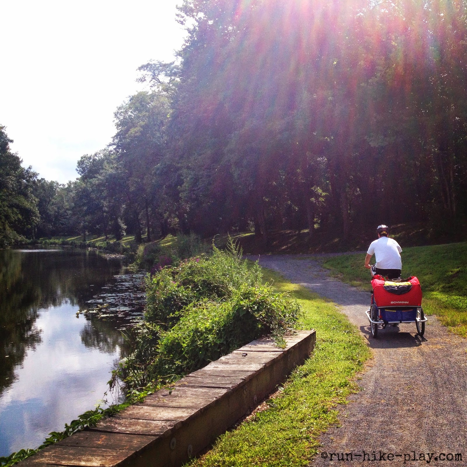 biking on D&R Canal Trail