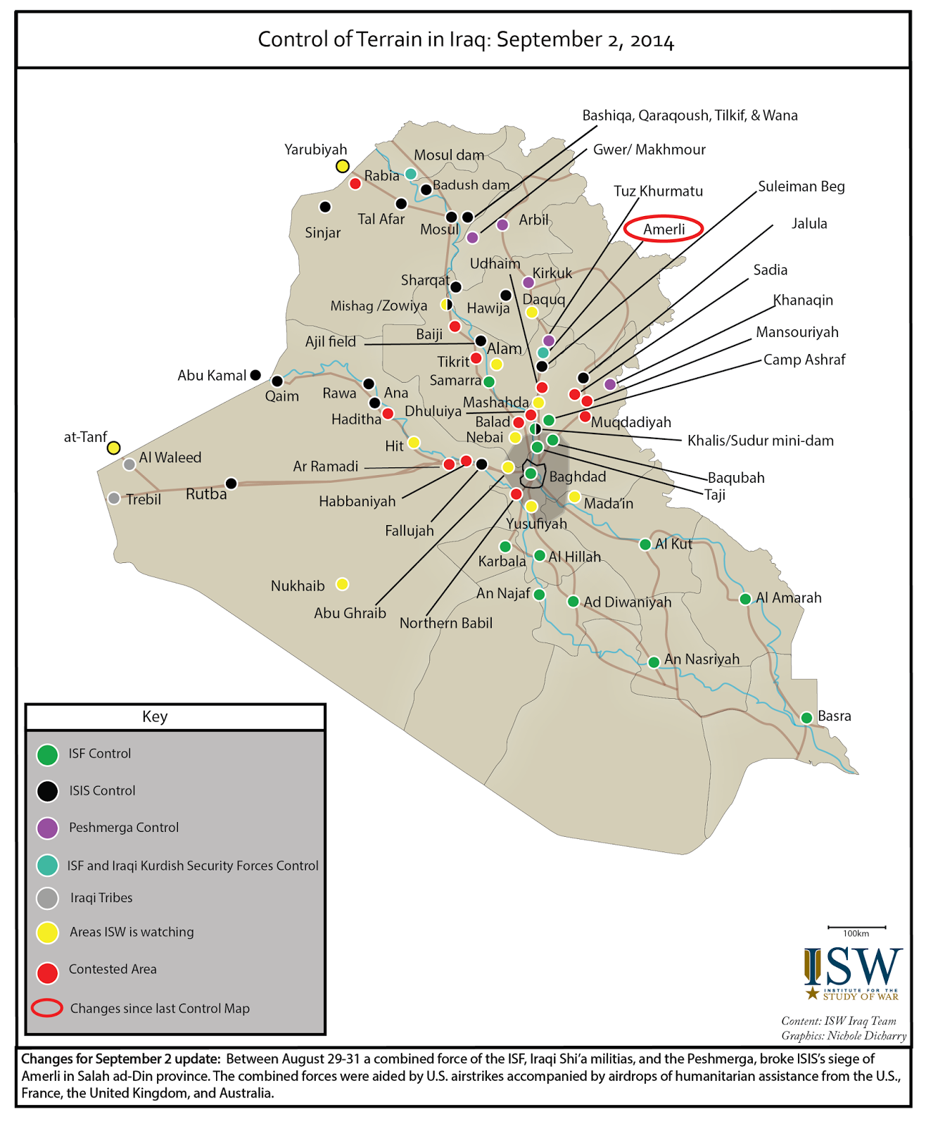 ISW Blog Control of Terrain in Iraq September 2 2014