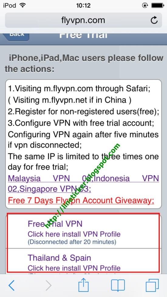 หลังจากที่คลิ๊ก Free Trial จะได้หน้าจอดังรูปประกอบที่8 และให้คลิ๊ก Free Trail VPN หรือ Thailand & Spain   รูปประกอบที่ 8
