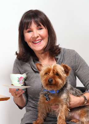 Arlene Phillips launches the Blue Cross Tea Party with a little help from rescue dog Maggie www.bluecross.org.uk/teaparty