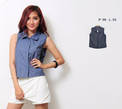 Blouse Blue Navy Top - 10424