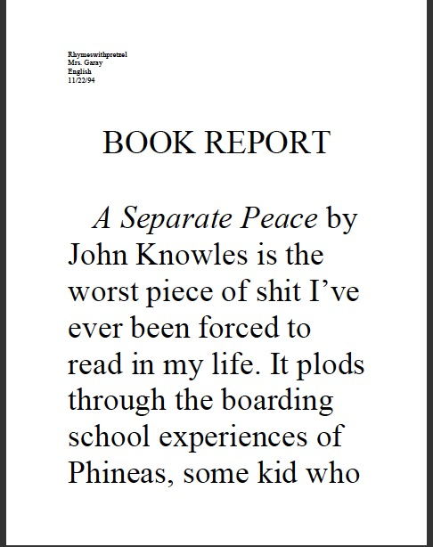 an analysis of john knowles a separate peace Quicklet on john knowles' a separate peace (cliffnotes-like book summary and analysis get it today, apr 5 separate peace sparknotes (02) by knowles, john.