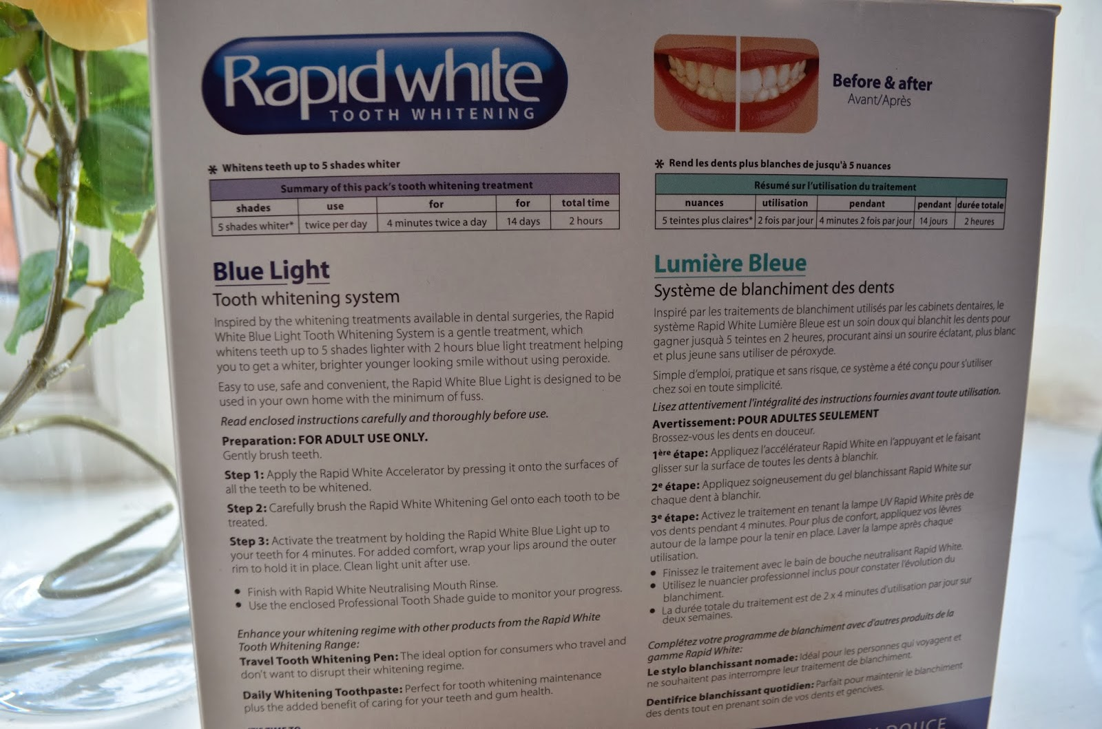 rapid white tooth whitening instructions