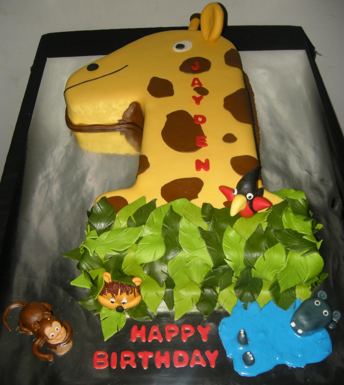 Harshis Cakes Bakes Jungle Theme First Birthday Cake