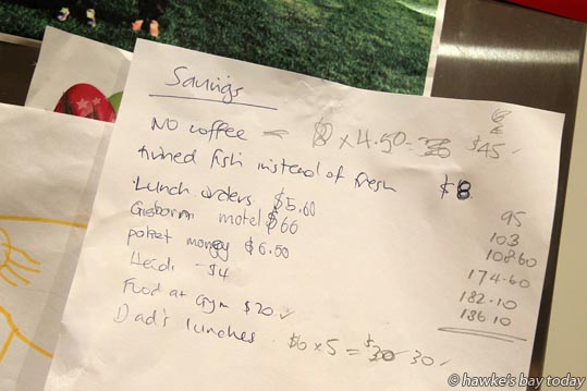 The family's tally sheet on the kitchen fridge - Lana Chrystall, Havelock North, with her fundraising family, Ben Chrystall, Nick Chrystall, Sonia Chrystall, Heidi Chrystall, have raised hundreds of dollars for the  Limitless Hope Emergency Shelter Appeal. photograph