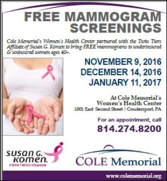 12-14,1-11 Free Mammogram Screenings