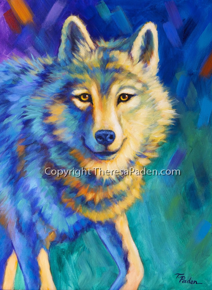 California Artwork: Colorful Wildlife Art Original Wolf ...