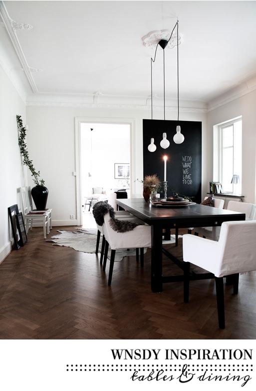 Eettafel inspiratie in zwart wit blauw for Interieur zwart wit