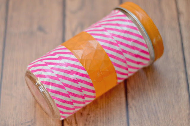 Washi Tape Mason Jar Pen Holder, FriXion Clicker pen, Washi Tape Crafts, Pen holders, Washi Tape