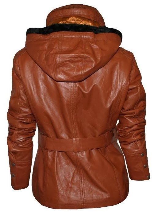 Fabulous brown leather jacket with faux hood