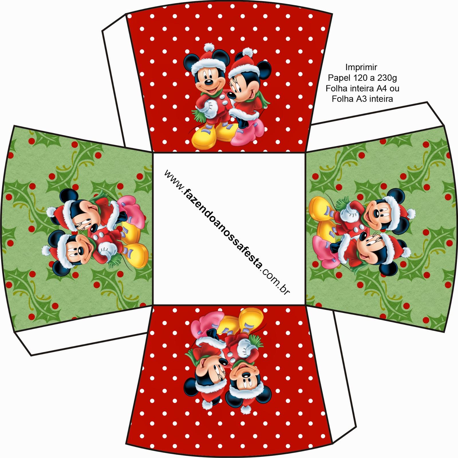 minnie y mickey especial navidad cajas para imprimir gratis