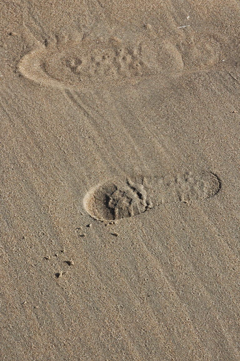 man's and child's footstep in sand