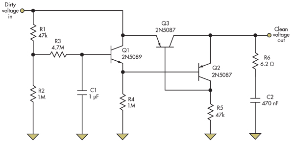 electronic circuit  simple power supply ripple rejection for battery systems mmbt3904