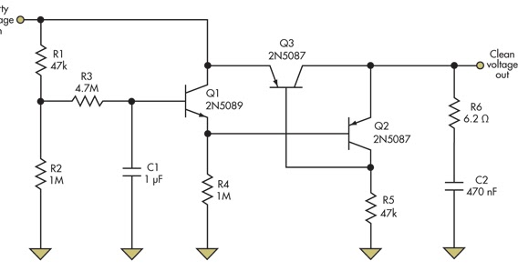 electronic circuit  simple power supply ripple rejection