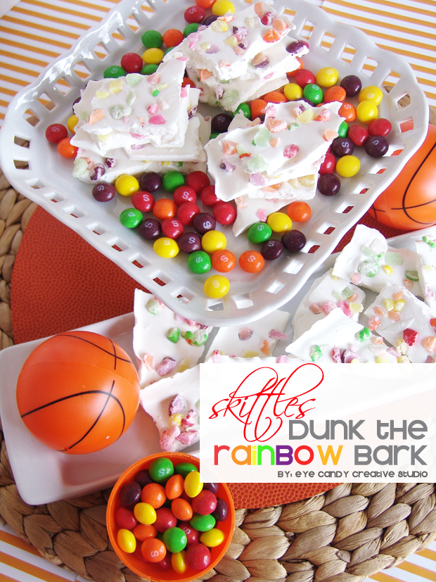 skittles, dunk the rainbow bark, basketball snack, skittles bark