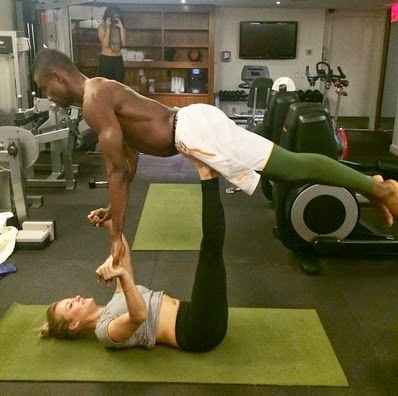 Salomon Kalou doing yoga with Caley Alyssa