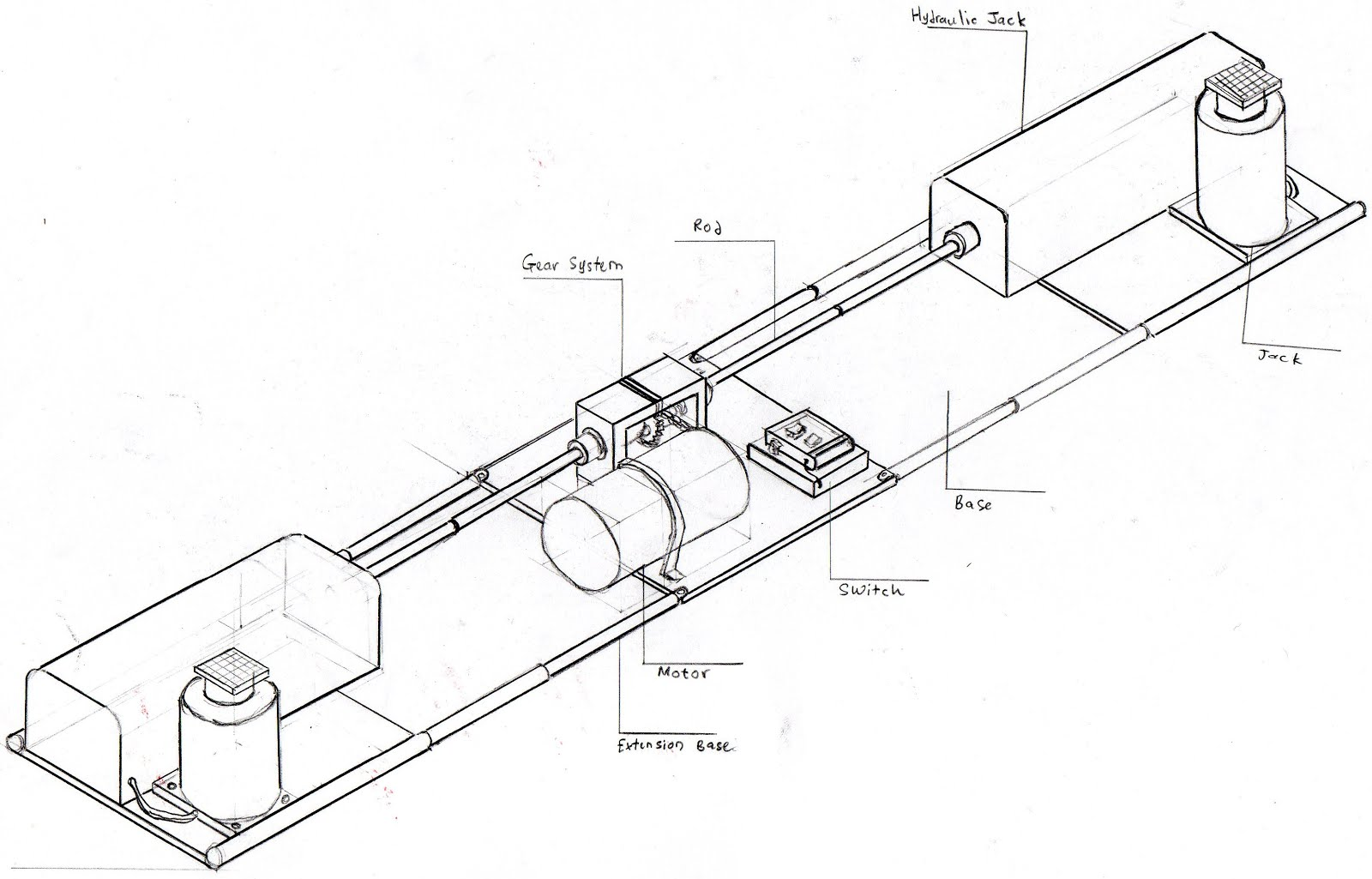 Proposal To Design A Portable Motorized Double Hydraulic Car Jack Diagram Sketch Of The