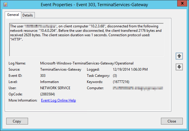 Event showing the user gracefully disconnecting from the VDI after one second.