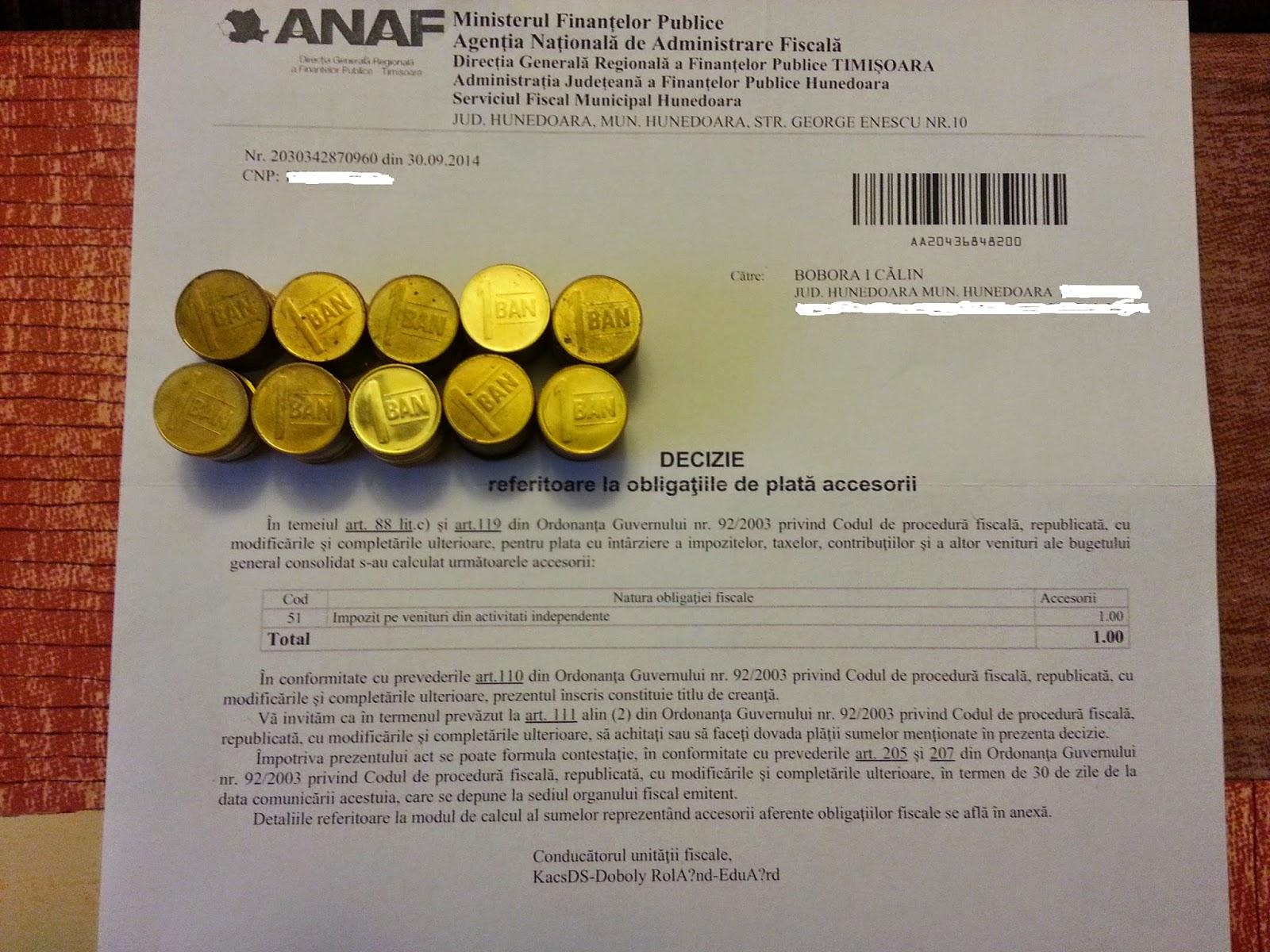 Imi platesc datoria la ANAF cu Monede de 1 BAN