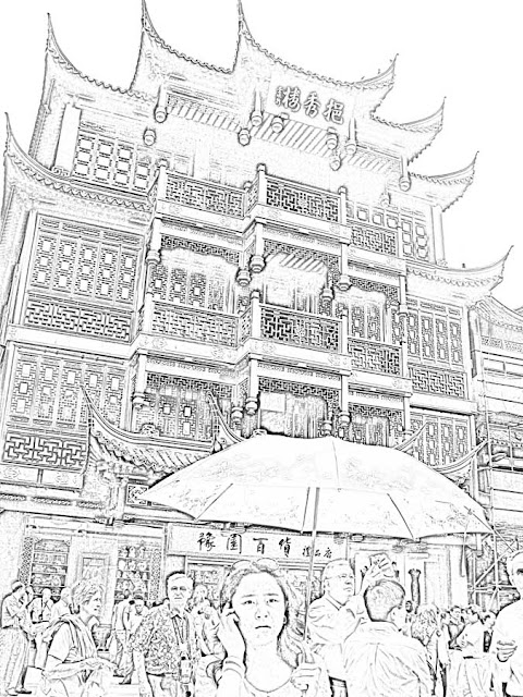 sketch of Yu garden building in Shanghai