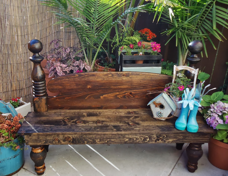 Garden Bench Using Old Footboard - $350.00 Available