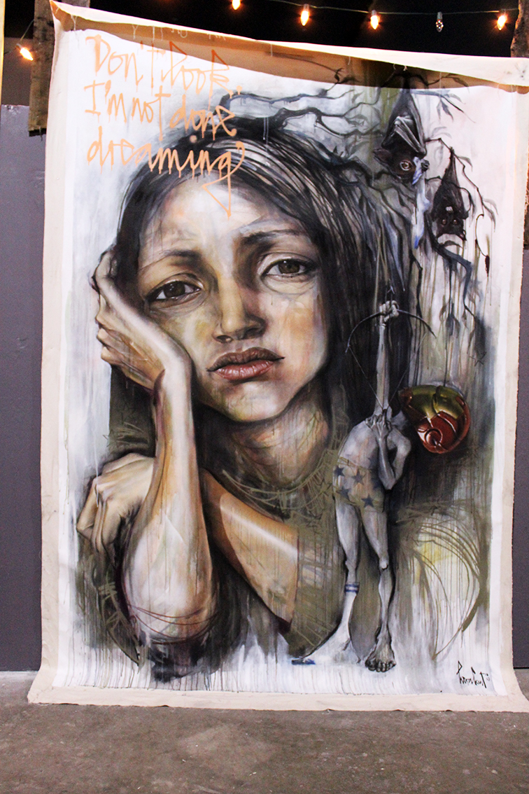 Herakut solo exhibition at Miami Art Basel 2014 at Mana Wynwood, Don't look I'm not done dreaming