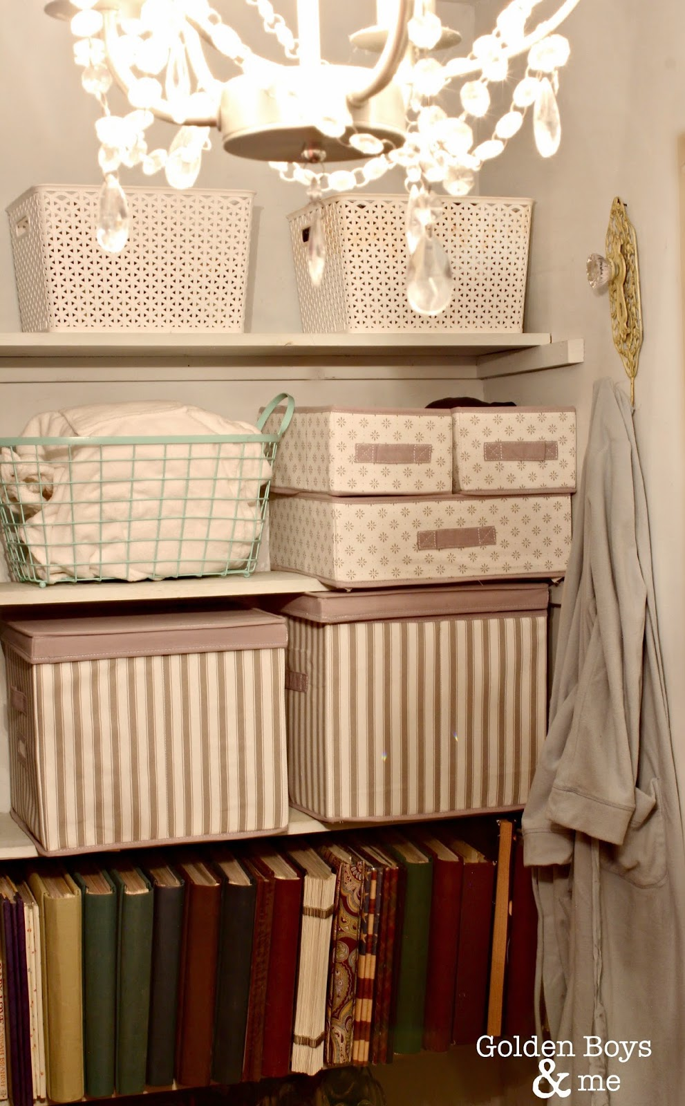 Ikea storage boxes and bins in master closet-www.goldenboysandme.com