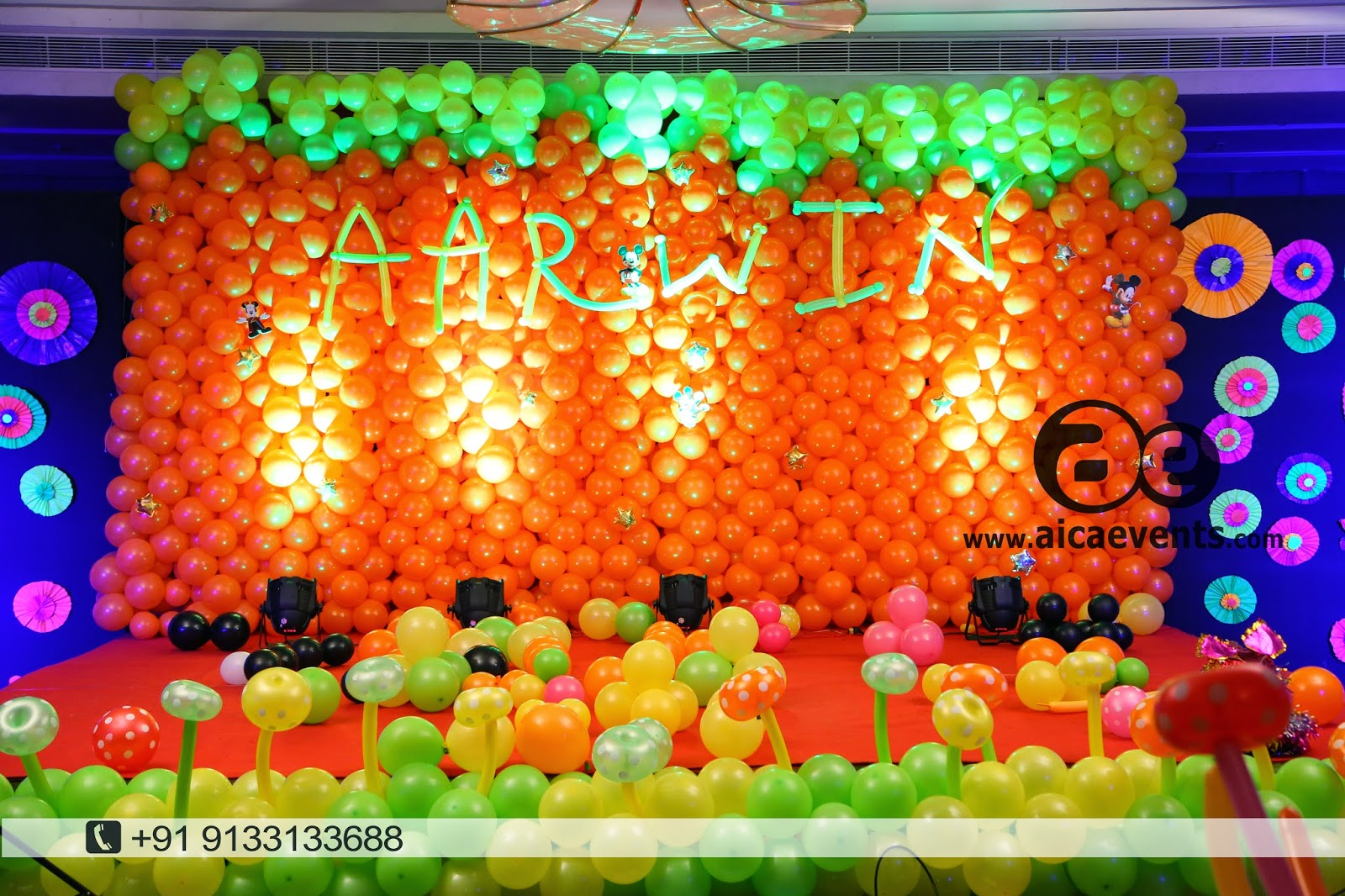 Aicaevents balloon wall stage backdrop decoration for Balloon decoration on wall for birthday