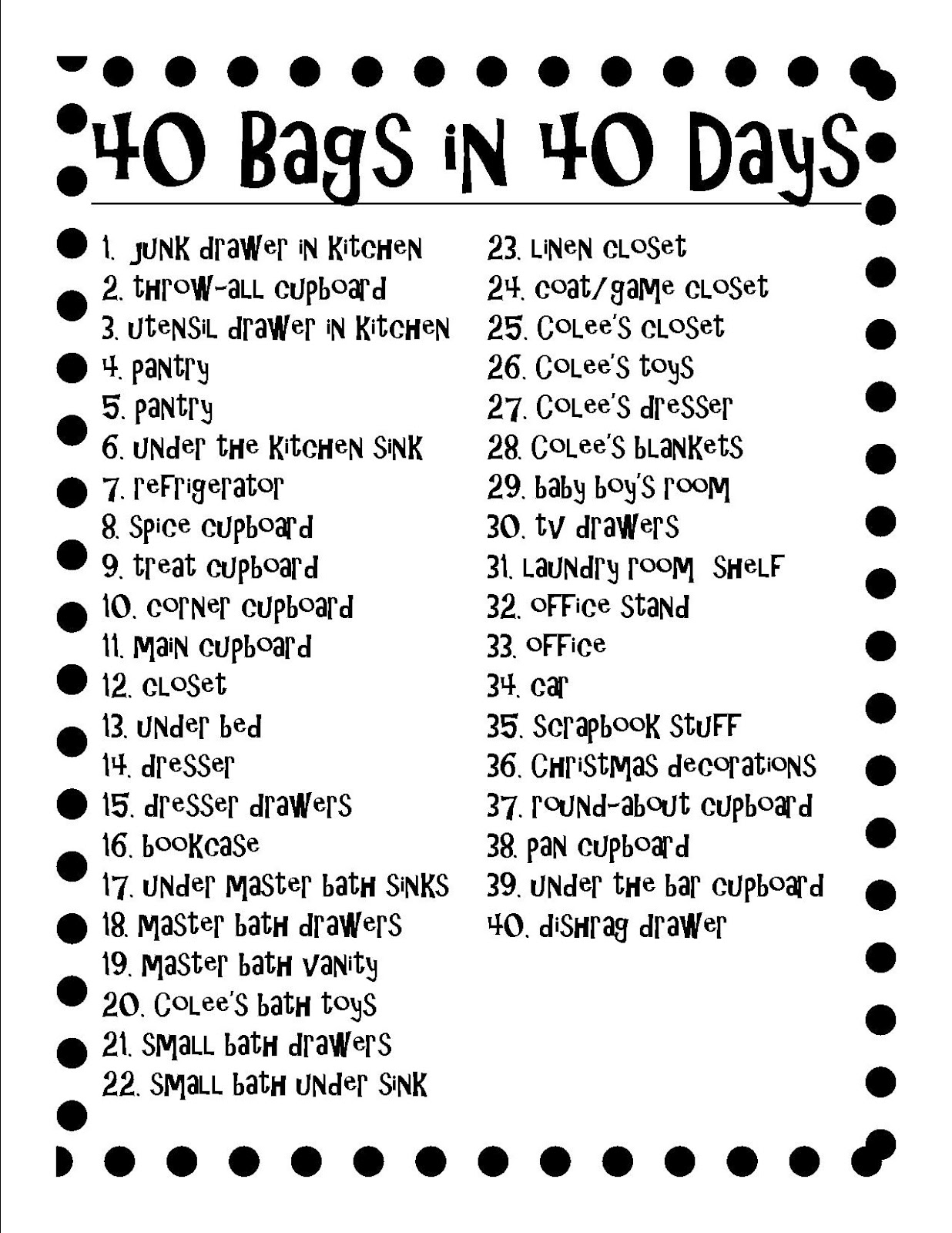 It is an image of Canny 40 Bags in 40 Days Printable