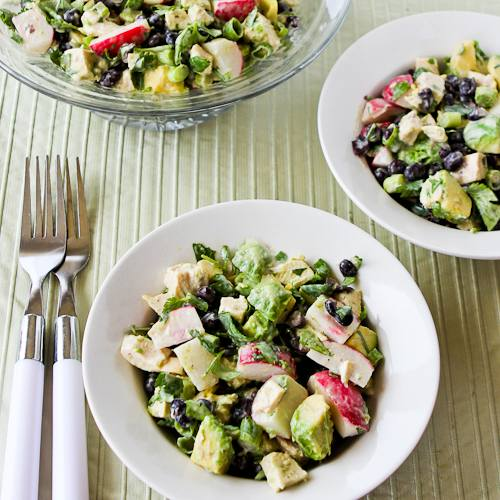 Chicken, Black Bean, Avocado, and Radish Salad with Lime and Cilantro