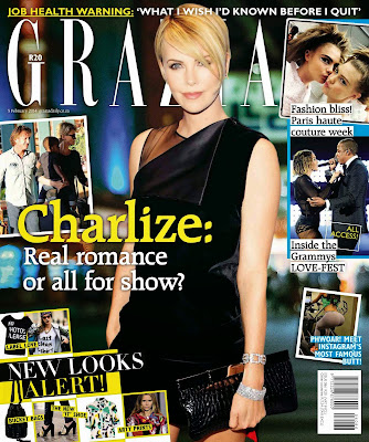 Charlize Theron Grazia South Africa Magazine Cover February 2014 HQ Scans