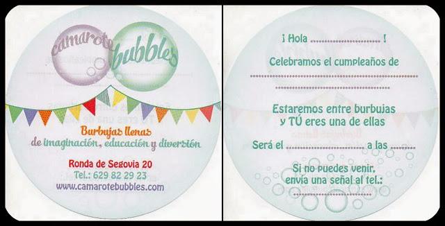 La invitación de cumpleaños de Camarote Bubbles
