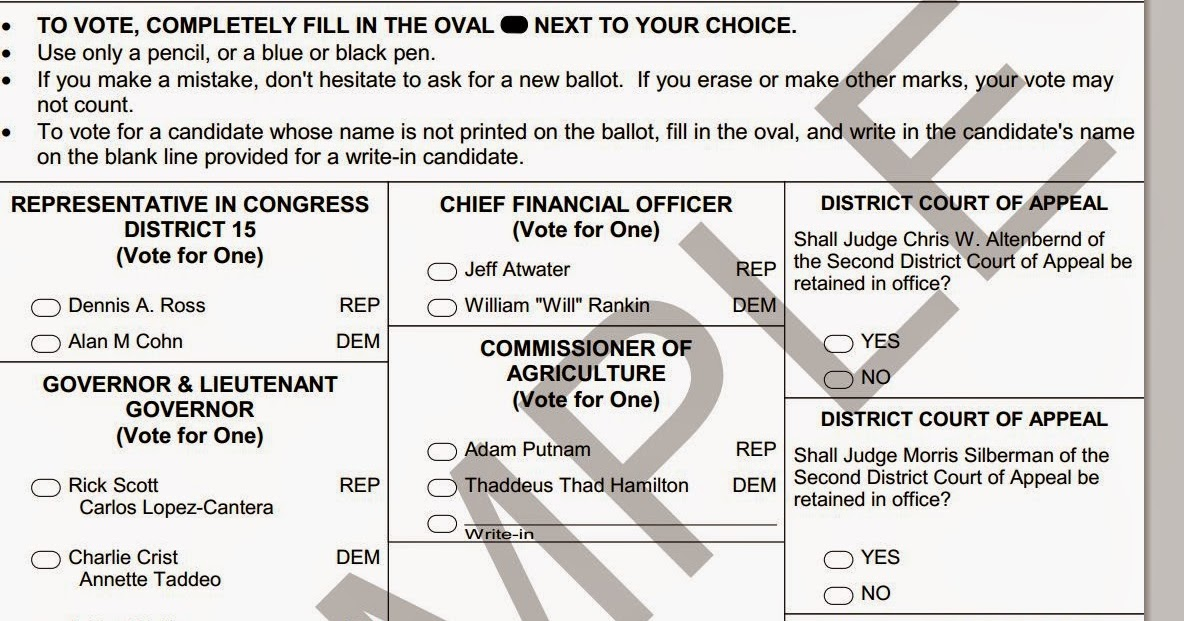 You Might Notice a Trend: Florida 2014 Election: Sample Ballots ...