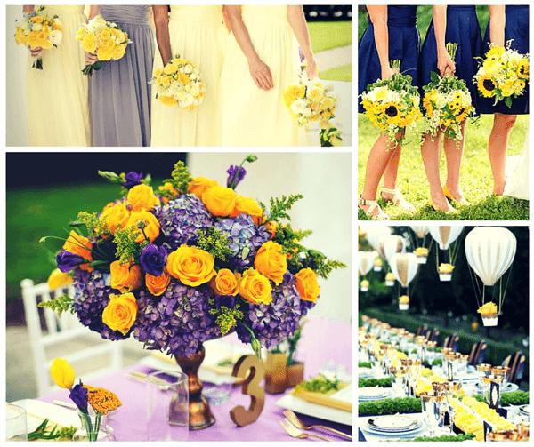 ярко жълто и лилаво за цвят на сватба