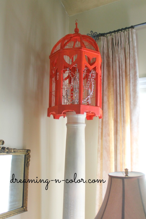dreamingincolor How to turn a Birdcage into a Chandelier – Stand Up Chandelier
