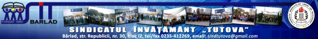 """Sindicat Învățământ """"Tutova"""" Bârlad"""