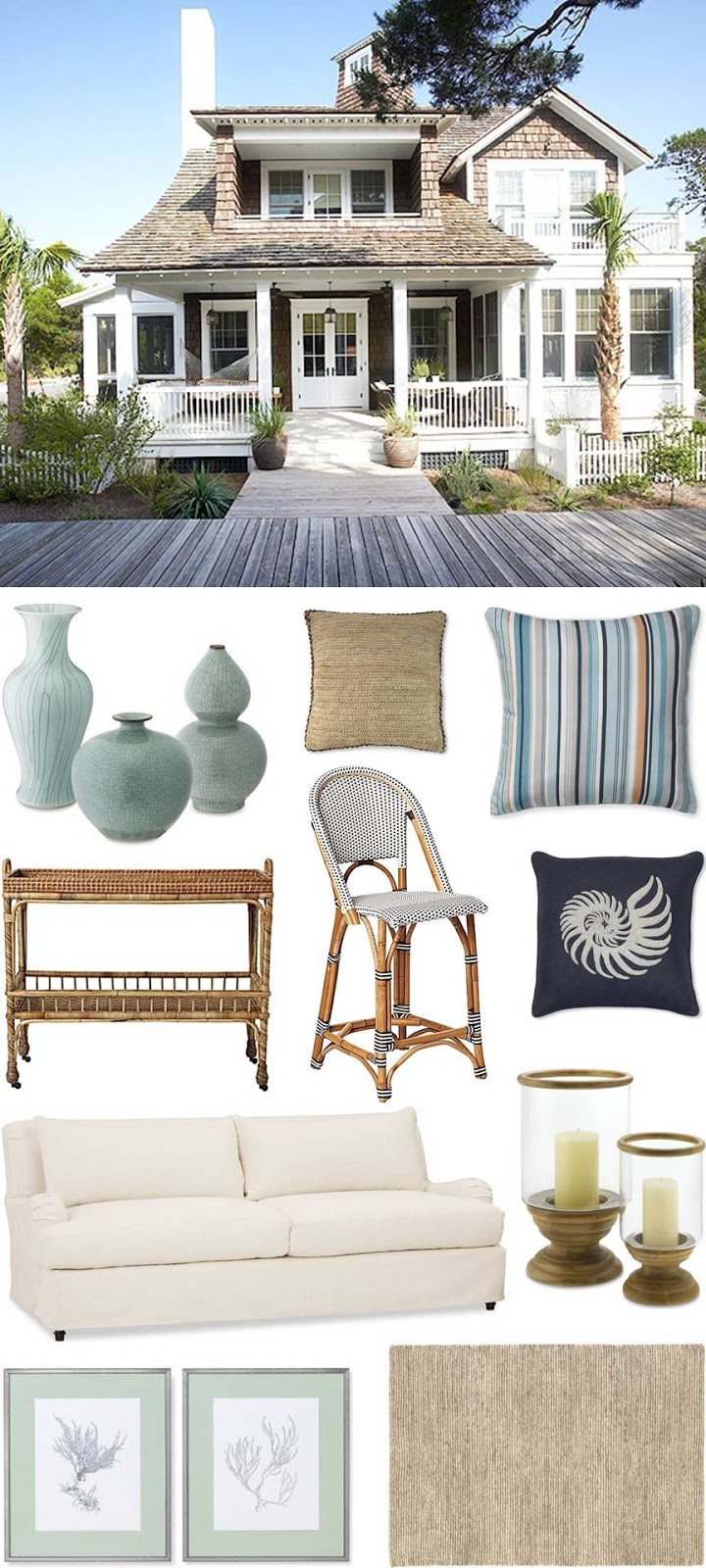 Coastal style hamptons beach house get the look for Coastal beach home decor