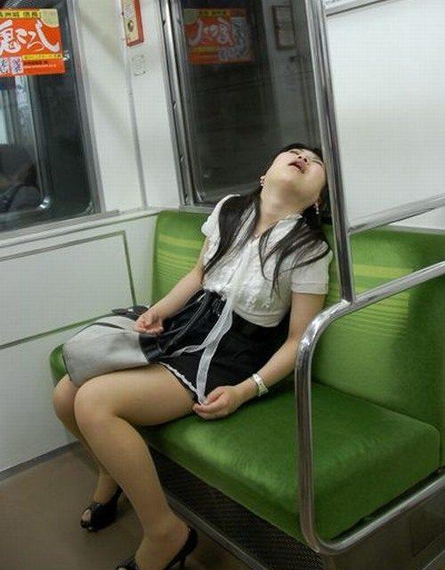 Sleeping asian train pics