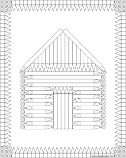Coloring page- a cabin made of coloring pencils in jpg and transparent png formats.