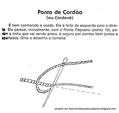 Como bordar ponto de cordão passo a passo