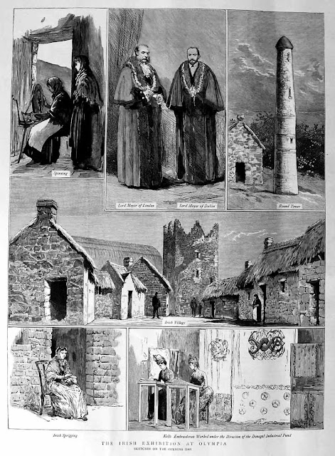 Illustrations of the Irish Exhibition at London's Olympia, 1883