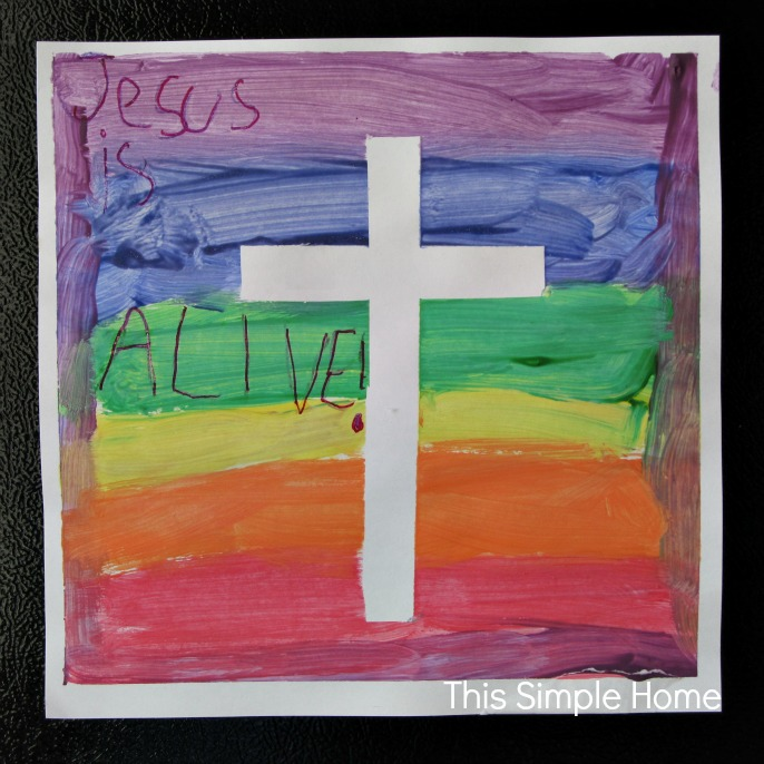 This simple home easter cross painting for Cross paintings on canvas