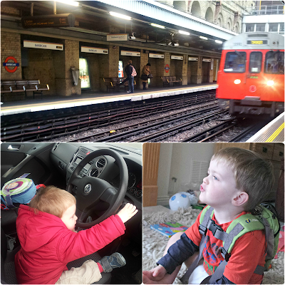 Barbican, toddler driving and toddler monkey noises