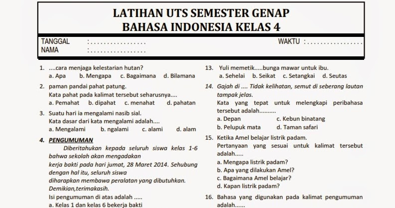Download Soal Uts 2 Bahasa Indonesia Kelas 4 Rief Awa