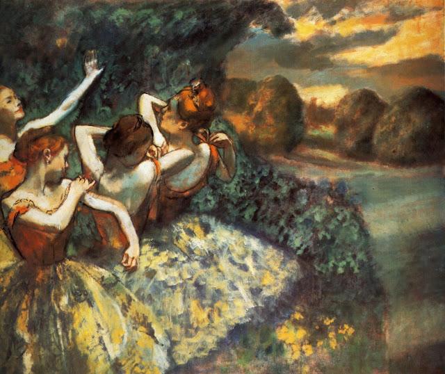 four dancers,edgar degas,ballerinas